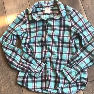 5/$10 Faded glory flannel teal size10/12